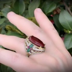 Size 8 Ruby Emerald Art Ring Solid 925 Silver/Gold